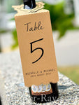 Personalized Wine Bottle Floral Kraft Table Number
