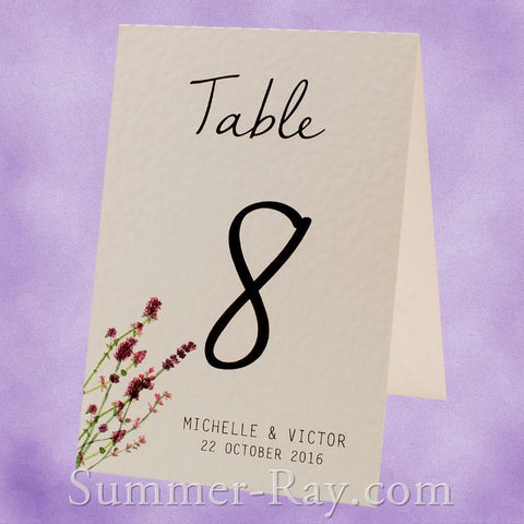 Personalized Lavender Garden Table Number