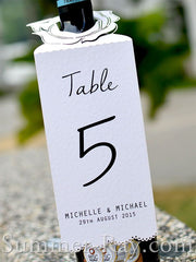 Personalized Wine Bottle Floral White Table Number