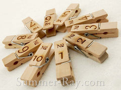 Wooden Peg Engraved Numbers - 10 to 50 pieces