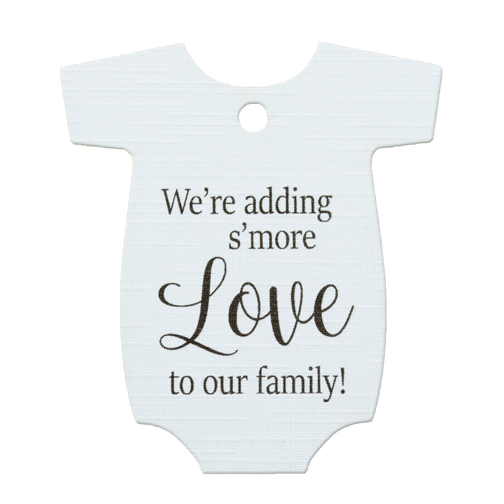 10 tags ~ Adding Smore love to our family ~ Baby Onesie with red /& green suspenders Gift Tags ~ Baby Shower Party Favor ~ TAG ONLY ~ 2 1//2