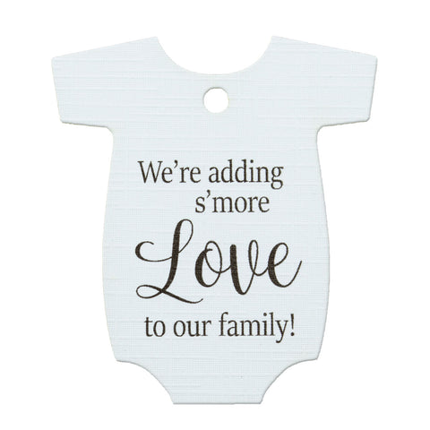 Baby Onesie Adding S'More Love to Our Family Baby Shower Favors Gift Tags Thank You Tags