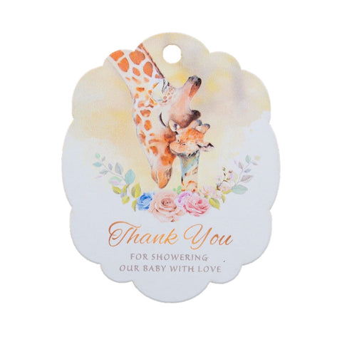Giraffes Thank You for Showering Our Baby with Love Baby Shower Thank You Tags Favor Tags