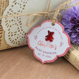 Personalized Baby Shower Vintage Favor Gift Tags with Teddy Rhinestones