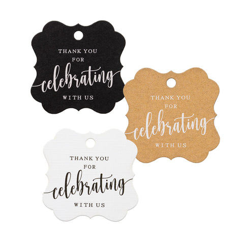 Elegant Square Thank You for Celebrating with Us Favor Tags Wedding Gift Tags