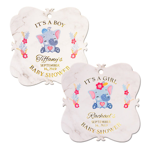 Personalized Gold Foil Elephant Baby Shower Favor Tags