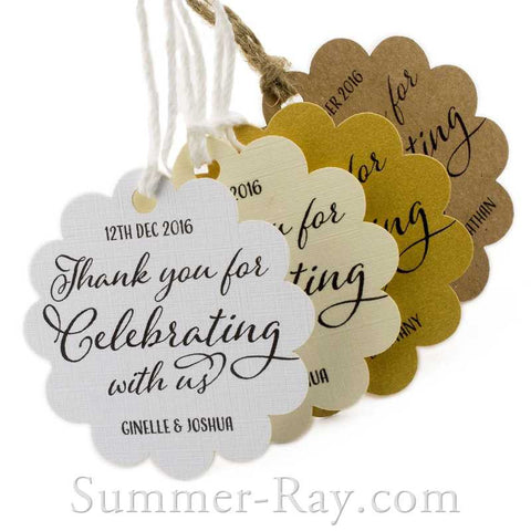 Personalized Scallop Thank You for Celebrating with Us Favor Tags