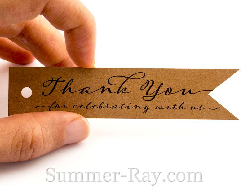 Pennant Flag Thank You for Celebrating with Us Favor Tags