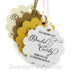 Personalized Scallop Thank You for Celebrating with Us II Favor Tags