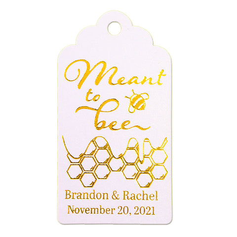 Personalized Gold Foil Hot Stamping Shimmered White Royale Meant to Bee Favor Gift Tags