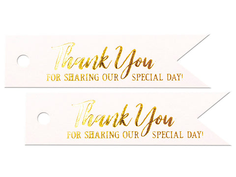 Gold Foil Hot Stamping Shimmered White Pennant Flag Gift Tags Thank You Tags