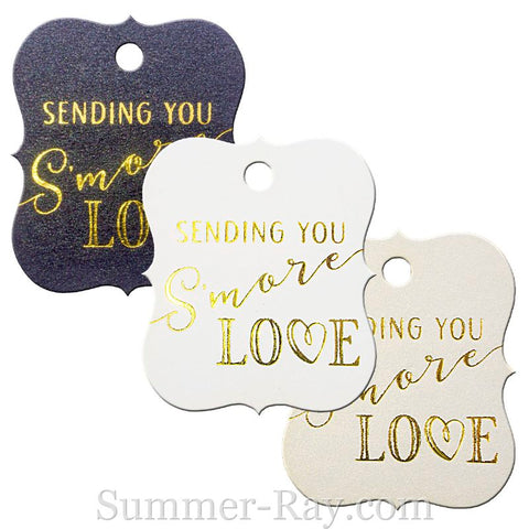 Gold Foil Hot Stamping S'More Love Little Violin Favor Tags