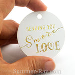Gold Foil Hot Stamping S'More Love Round Favor Tags