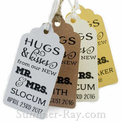 Personalized Hugs & Kisses from our New Mr & Mrs Favor Tags