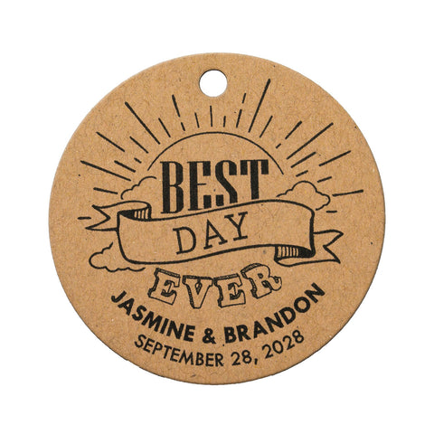 Personalized Wedding Welcome Gift Tags Best Day Ever Bridal Shower Welcome Bag Round Tags