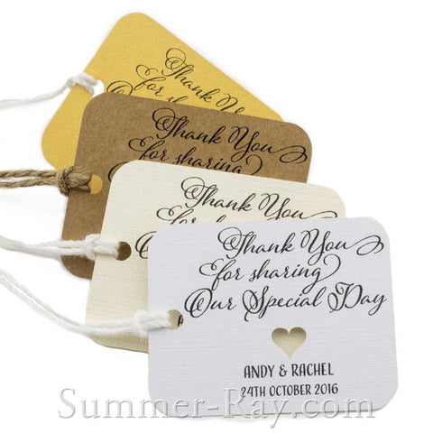 Personalized Rounded Rectangle with Heart Thank You for Sharing our Special Day Gift Tags