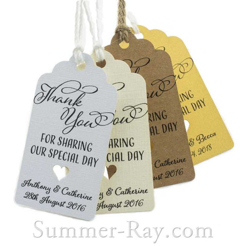 Personalized Royale Thank You for Sharing our Special Day Gift Tags