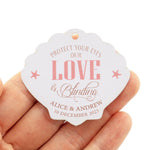 Personalized Wedding Gift Tags Our Love is Blinding Beach Themed Wedding Seashell Favor Tags