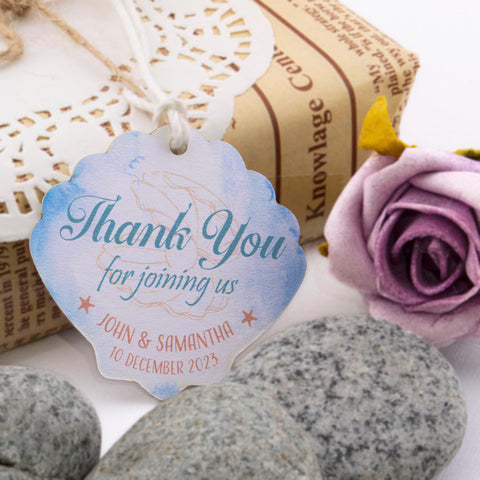 Personalized Beach Themed Wedding Seashell Thank You Favor Gift Tags