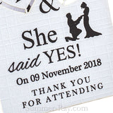 Personalized He Asked She Said Yes Wedding Gift Tags