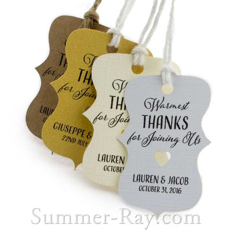 Personalized Little Violin Warmest Thanks for Joining Us Gift Tags