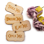 Alice in The Wonderland Wooden Party Favor Tags