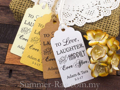 Personalized Love Laughter and Happily Ever After Wedding Favor Tags