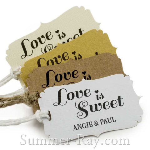 Personalized Love is Sweet Wedding Favor Tags with Twine/Thread