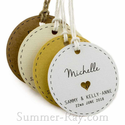 Individually Personalized Guest Names Round Favor Tags