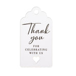 50pcs Thank You for Celebrating with Us White Wedding Favors Gift Tags
