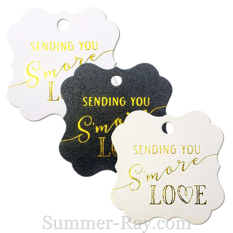 Gold Foil Hot Stamping S'More Love Elegant Square Favor Tags