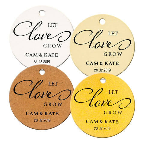 Personalized Let Love Grow Wedding Favors Round Gift Tags for Succulent Favors