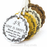 Personalized Scallop Love is Sweet Monogram Gift Tags