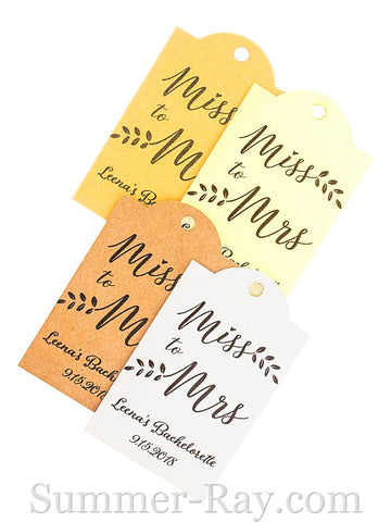 Personalized Miss to Mrs Bridal Shower Gift Tags