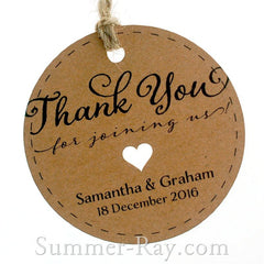 Personalized Kraft Wedding Favor Gift Tags with Twine
