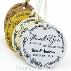Personalized Round Thank You for Sharing our Special Day Gift Tags