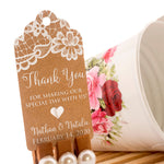 Personalized White Ink Printing Thank You for Sharing Our Special Day with Us Lace Wedding Kraft Favor Gift Tags