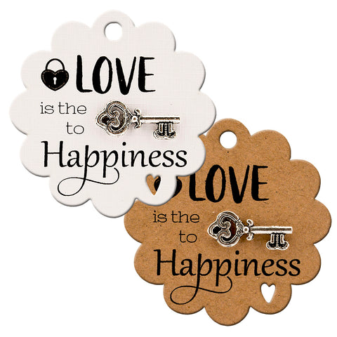 Love is The Key to Happiness Scallop Gift Tags with Tibetan Key Charm