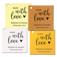 Personalized Made with Love Wedding Favors Square Gift Tags