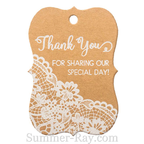 White Printing Thank You for Sharing Our Special Day Little Violin Kraft Gift Tags