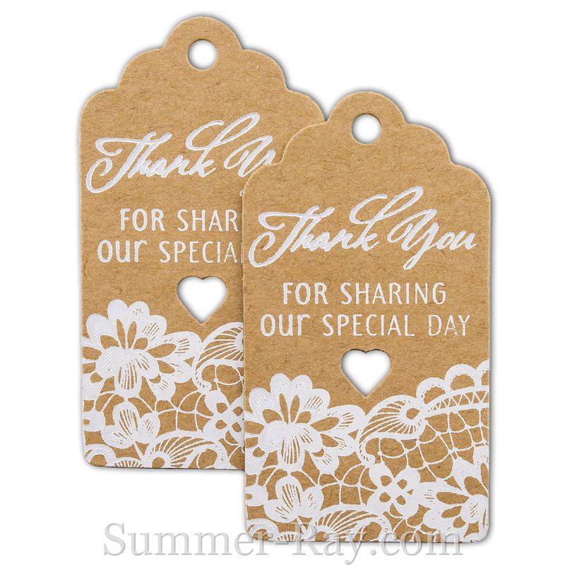 White Printing Thank You for Sharing Our Special Day Royale Kraft Gift Tags
