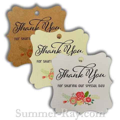 elegant square thank you gift tags with floral print ii summer