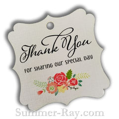 Elegant Square Thank You Gift Tags with Floral Print (II)