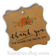 Elegant Square Thank You Gift Tags with Floral Print (I)