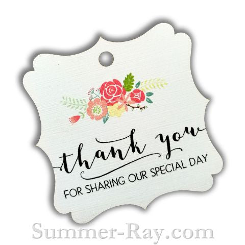 elegant square thank you gift tags with floral print i summer