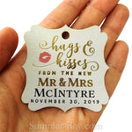 Personalized Elegant Square Gold Foil Hugs & Kisses from the New Mr & Mrs Gift Tags
