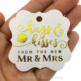 Elegant Square Gold Foil Hot Stamping Hugs and Kisses Gift Tags