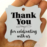 Elegant Square Thank You for Celebrating with Us Gift Tags