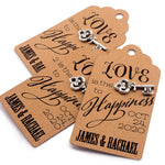 Personalized Love is The Key to Happiness Gift Tags with Tibetan Key Charm