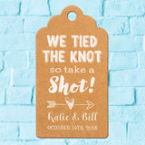 Personalized White Ink Printing We Tied The Knot so Take a Shot Wedding Favor Gift Tags in Black